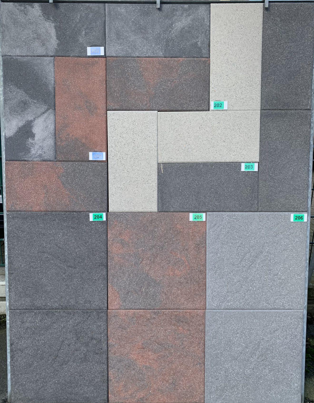 Gartenplatten und Terrassenplatten - Novagranit rot/schwarz bei Stolzenbach Baustoffe in Bremen kaufen
